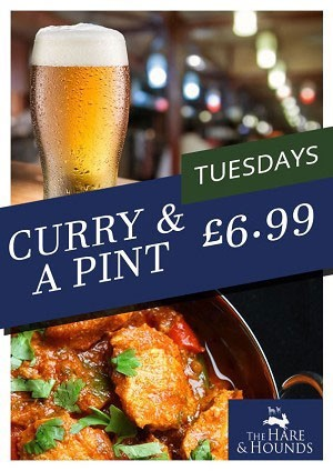 Curry and a pint Tuesdays